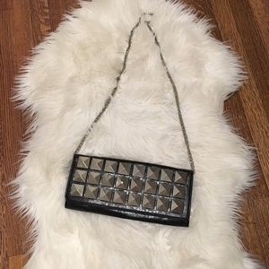 Handbags - Faux leather studded clutch. optional chain. NWOT